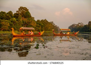 SIEM RIEP, CAMBODIA - NOVEMBER 5, 2019: Gondola Sunset Boat Rides at Angkor Wat in Cambodia