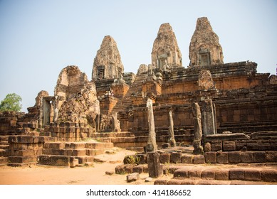 Siemreap, Cambodia - Apr 15, 2016 - Group of tourists at the ancient stone castle