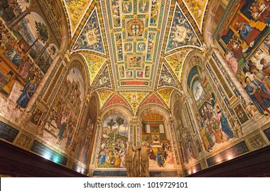 SIENA, ITALY - 16 SEPTEMBER 2017: Amazing interior of Siena cathedral of Saint Mary Assumption, Piccolomini Library in Tuscany, Italy on 16 September, 2017.