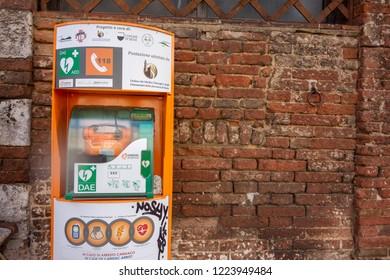 Siena, Italy 2016-05-02 Cardiac Science defibrillator device near Duomo di Siena Church