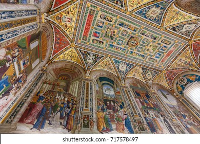 Siena, Italy - April 04, 2017: Interior of Piccolomini Library in Siena Cathedral (Duomo di Siena)