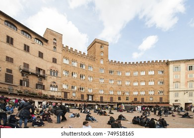 Siena - Italy - April 1, 2013: The historic centre of Siena has been declared by UNESCO a World Heritage Site. Siena is famous for its cuisine, art, museums and the Palio, a horse race.