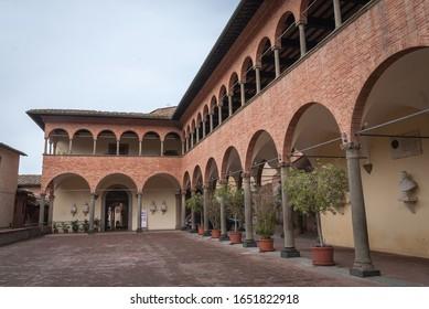 Siena, Italy - April 16, 2019 - Santuario Casa di Santa Caterina, House of Saint Catherine in Siena, Italy, Tuscany