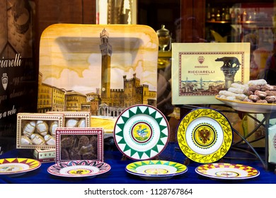 SIENA, ITALY - AUGUST 07, 2015: Colorful ceramic souvenirs in Siena, Tuscany, Italy.