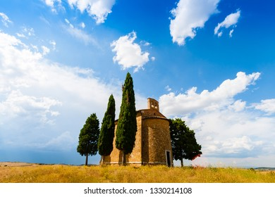 Siena, Italy - August 14, 2013: The Madonna di Vitaleta chapel in summer in a sumer day