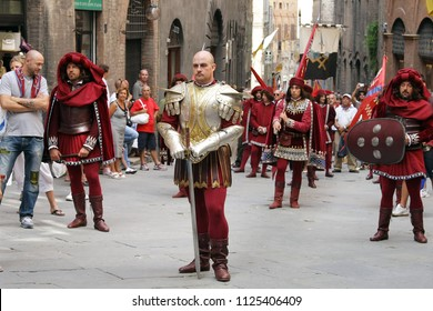 SIENA, ITALY - AUGUST 16, 2008: Marching band at The Palio di Siena festival, Siena (Sienna), Province of Siena, Tuscany Region, Italy