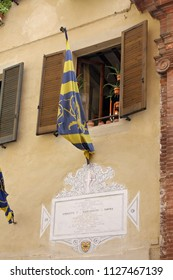 SIENA, ITALY -  AUGUST 16 ,2008: Banners as part of Palio di Siena, Tuscany - Italy