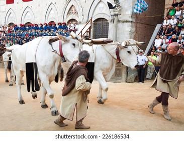 """SIENA, ITALY - AUGUST 16: Parade before start of annual traditional Palio di Siena horse race in medieval square """"Piazza del Campo"""" August 16, 2014 in Siena, Italy."""
