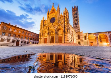 Siena, Italy. The Cathedral of Siena (Duomo di Siena) at twilight.