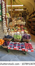 SIENA, ITALY - CIRCA APRIL 2016: fruit on display on a fruit shop counter