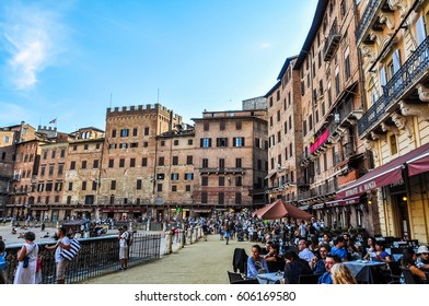 SIENA, ITALY - CIRCA AUGUST 2016: High dynamic range (HDR) High dynamic range (HDR) Piazza del Campo square