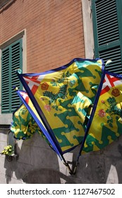 SIENA, ITALY - JULY 05,2008: Banners as part of Palio di Siena, Tuscany - Italy