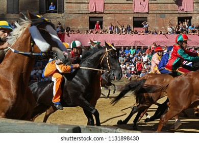 Siena, Italy - July 1, 2018: Start of Palio of Siena