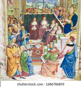 SIENA, ITALY - JULY 10, 2017: Frescoes (1502) in Piccolomini Library in Siena Cathedral, Italy, by Pinturicchio depicting Pope Pius II convoking the Council of Mantua to proclaim a new crusade in 1459