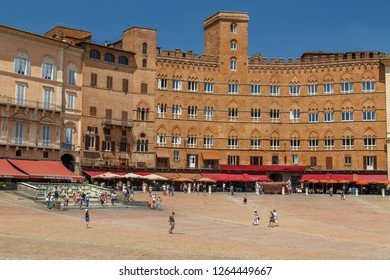 SIENA / ITALY - JULY 2015: Square in the historic centre of Siena, Italy