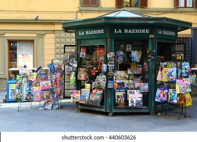 Siena, Italy - March 14, 2014: Old-fashioned newsstand in Siena