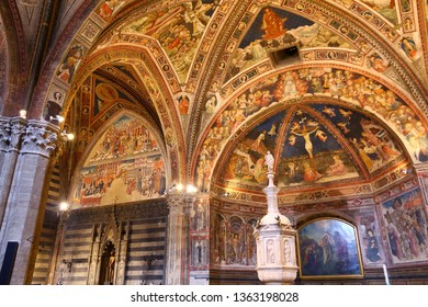 SIENA, ITALY - MAY 3, 2015: Baptistery in Siena, Italy. The Medieval Baptistry is dedicated to St. John (San Giovanni).