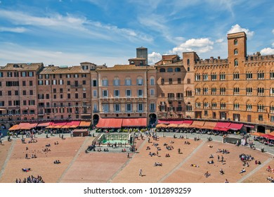 "SIENA, ITALY - MAY 6, 2014: Photo of Fountain ""The Source of Joy"" in Piazza del Campo"