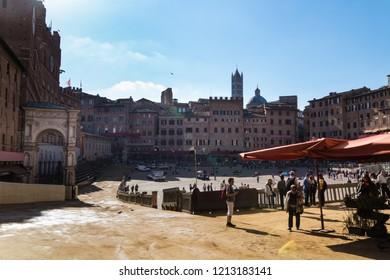 SIENA, ITALY - OCTOBER 18, 2018 - Scenic view of Siena cityscape: Campo Square (Piazza del Campo) before the Palio.