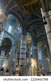 SIENA, ITALY - OCTOBER 27, 2018: interior of Metropolitan Cathedral of Saint Mary of the Assumption