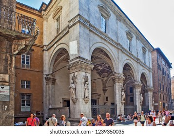 SIENA, ITALY - SEPTEMBER 15, 2018: Photo of Commercial loggia (Loggia della Mercanzia)