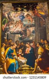 SIENA, ITALY - SEPTEMBER 26, 2017 Adoration of the Shepherds Nativity Painting Nave Cathedral Church Siena Italy.  By Alessandro Casolani 1594