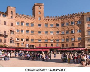 Siena (Italy) Tuscany - 08/18/2018 - Piazza del Campo. Place where the famous Palio di Siena is held.