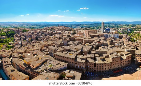 Siena panorama view from Torre Mangia tower