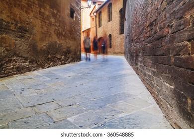 Siena street in tuscany,Italy.
