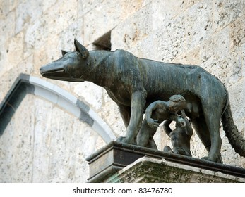 Siena - the town's emblem; a she-wolf suckling the infants Romulus and Remus.