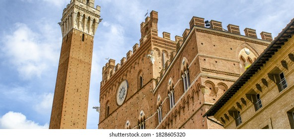 Siena, Tuscany. Beautiful architectural detail of Piazza del Campo.