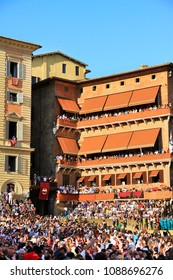 Siena, Tuscany / Italy - is held on 2 July 2015, on the Piazza del Campo, spectators of the Palio di Siena (named Palio di Provenzano, in honour of the Madonna of Provenzano) famous horse race.
