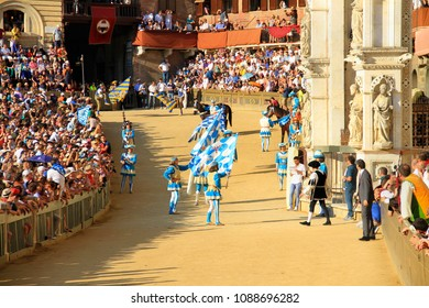 Siena, Tuscany / Italy - is held on 2 July 2015, on the Piazza del Campo, parade before start of Palio di Siena (named Palio di Provenzano, in honour of the Madonna of Provenzano) famous horse race.