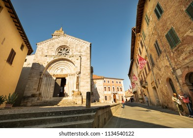 SIENA,ITALY- JUNE 18, 2018: The church and old building in area of Duomo in Siena