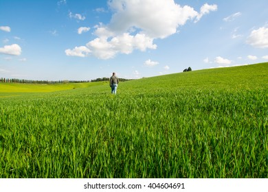 SIENNA, ITALY - APRIL 10, 2016 - man walking on the rolling hills of Chianti in the province of Siena