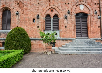 SIENNA, ITALY - MAY 08, 2016 - Brolio castle is located in the village of Brolio near San Regolo in Gaiole in Chianti in the province of Siena Italy belonging to the noble family Ricasoli