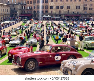 Sienna, Italy - May 17 2019:historic Mille Miglia race in the city of Siena Italy