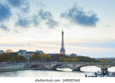 Sienna river, Paris skyline with Eiffel tower in background, France