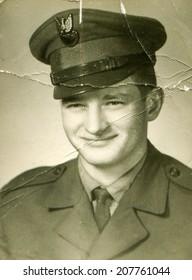 SIERADZ, POLAND, CIRCA SIXTIES - Vintage photo of soldier