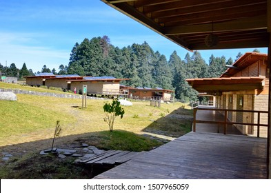 Sierra Chincua, Michoacan State, Mexico, January 14, 2015: The main buildings at the Sierra Chincua Monarch Butterfly Sanctuary that sits at the heart of the Monarch Butterfly Biosphere Reserve.