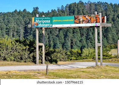 Sierra Chincua, Michoacan State, Mexico, January 14, 2015: The main entrance sign at the Sierra Chincua Monarch Butterfly Sanctuary that sits at the heart of the Monarch Butterfly Biosphere Reserve.