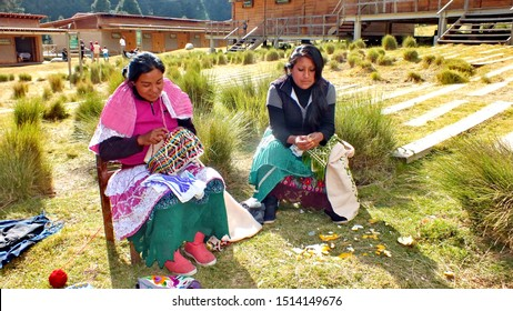 Sierra Chincua, Michoacan State, Mexico, January 14, 2015: Two Native Mexican Women sewing at the main entrance to the Sierra Chincua Monarch Butterfly Sanctuary.
