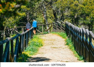 Sierra de las Nieves, Spain, April 04, 2018: unknown people visit the viewpoint inSierra de Las Nieves, Spain