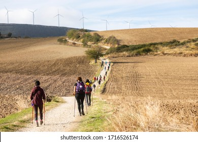 SIERRA DEL PERDÓN / Navarre / Spain - 10/07/2019: Pilgrims walk towards Santiago de Compostela through the fields near Alto Del Perdón, one of the highest points of the journey in the Pamplona region.