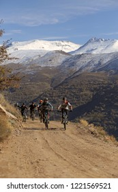 Güejar Sierra, Granada / Spain - November 04 2018: Cyclists during the ascent to the enduro descent route
