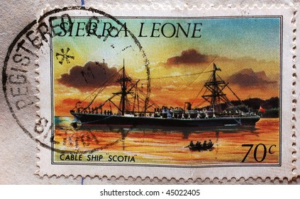 SIERRA LEONE - CIRCA 1995: A stamp printed in Sierra Leone shows image of the cable ship Scotia, circa 1995