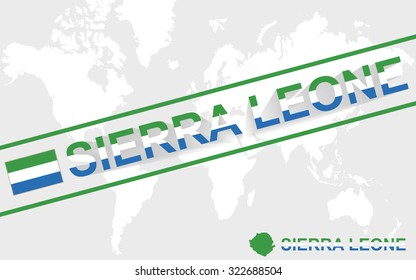 Sierra Leone map flag and text illustration, on world map, Rasterized Copy