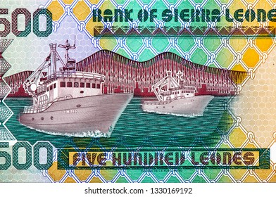 Sierra Leonean money 500 Sierra Leone Leones Banknote, Sierra Leone money currency Sierra Leone. Close Up UNC Uncirculated - Collection