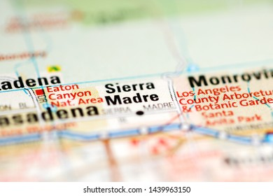 Sierra Madre. California. USA on a geography map