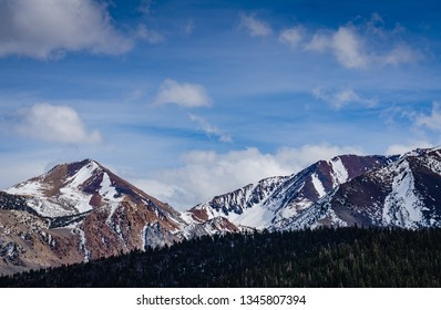 Sierra Madre Mountains covered with snow seen from Mammoth, California.